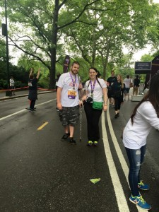 Aaron and Sammie at the Achilles Finish Line walking to raise awareness for CRPS