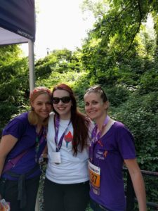 Ginger, Samantha, and Kerry at the Achilles Walk. What started as an internet friendship became a situation of two new friend(s)