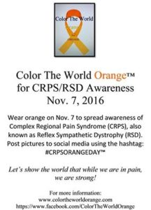The 2016 Color the World Orange poster for CRPS awareness.