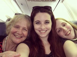 CRPS friends- Sue, Samantha, and Jodi on a plane to chronic pain camp for kids. A great friend and great human in each of them