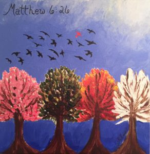 Alyssa's painting based on Matthew 6:26 reflects her thoughts on CRPS