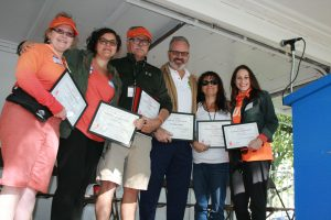Members from the Long Island Walk committe on stage with Jim Broatch at this second CRPS walk