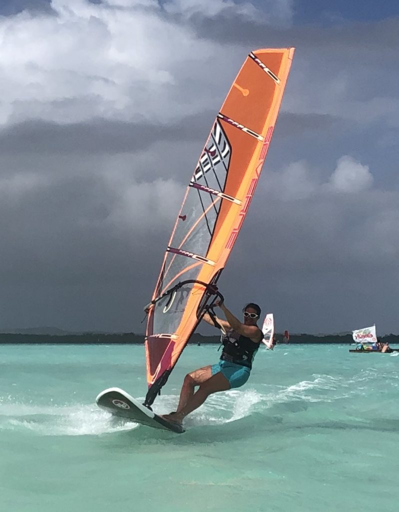 Sandy Geddes windsurfing after diagnosis CRPS RSDSA
