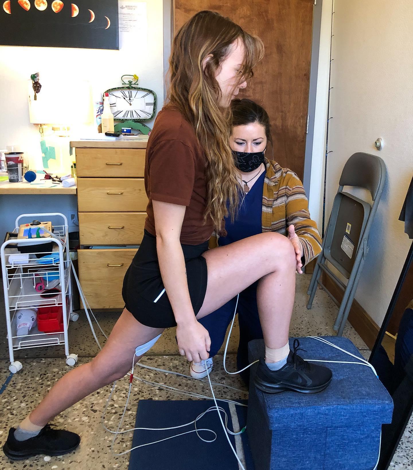 Woman doing rehabilitating exercises